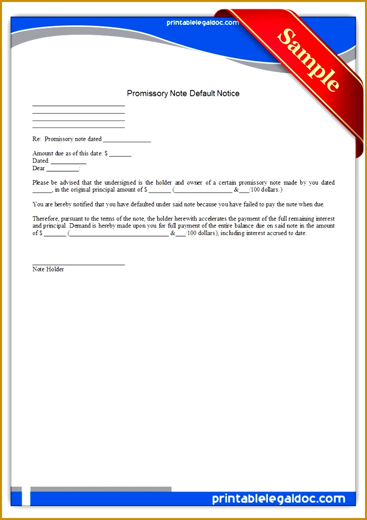 Free Printable Promissory Note Default Notice Form 7381044