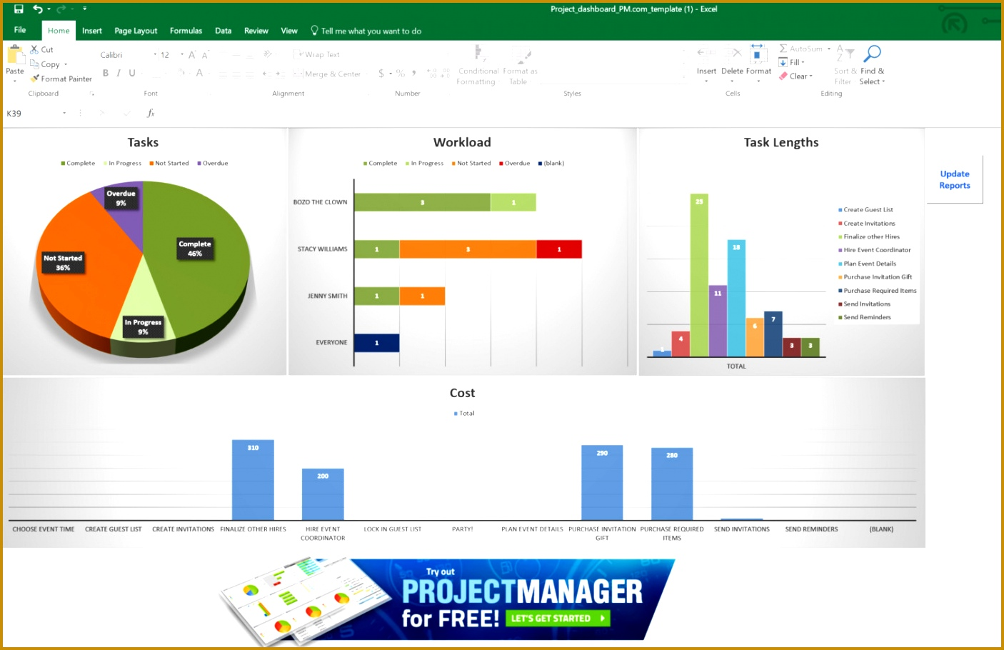 Excel Dashboard Template 9101406