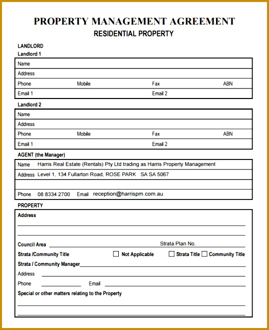 property management agreement free documents pdf sample word 539660