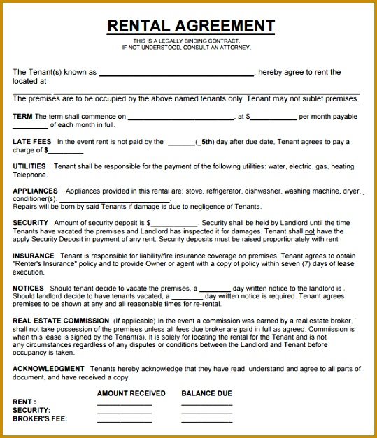 4 Free Property Management forms Templates