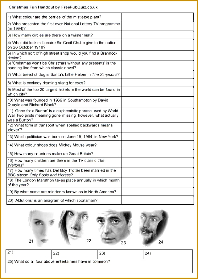 Free Quiz Handout Print and enjoy A4 sheet with questions and spaces to write 889630