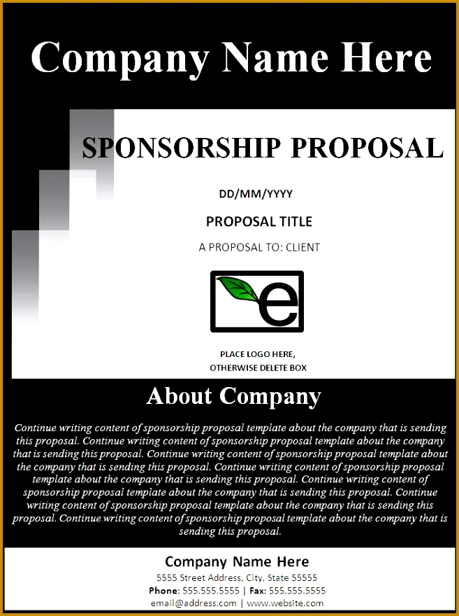 Sponsorship Proposal Template I like the about section on the cover page 880657