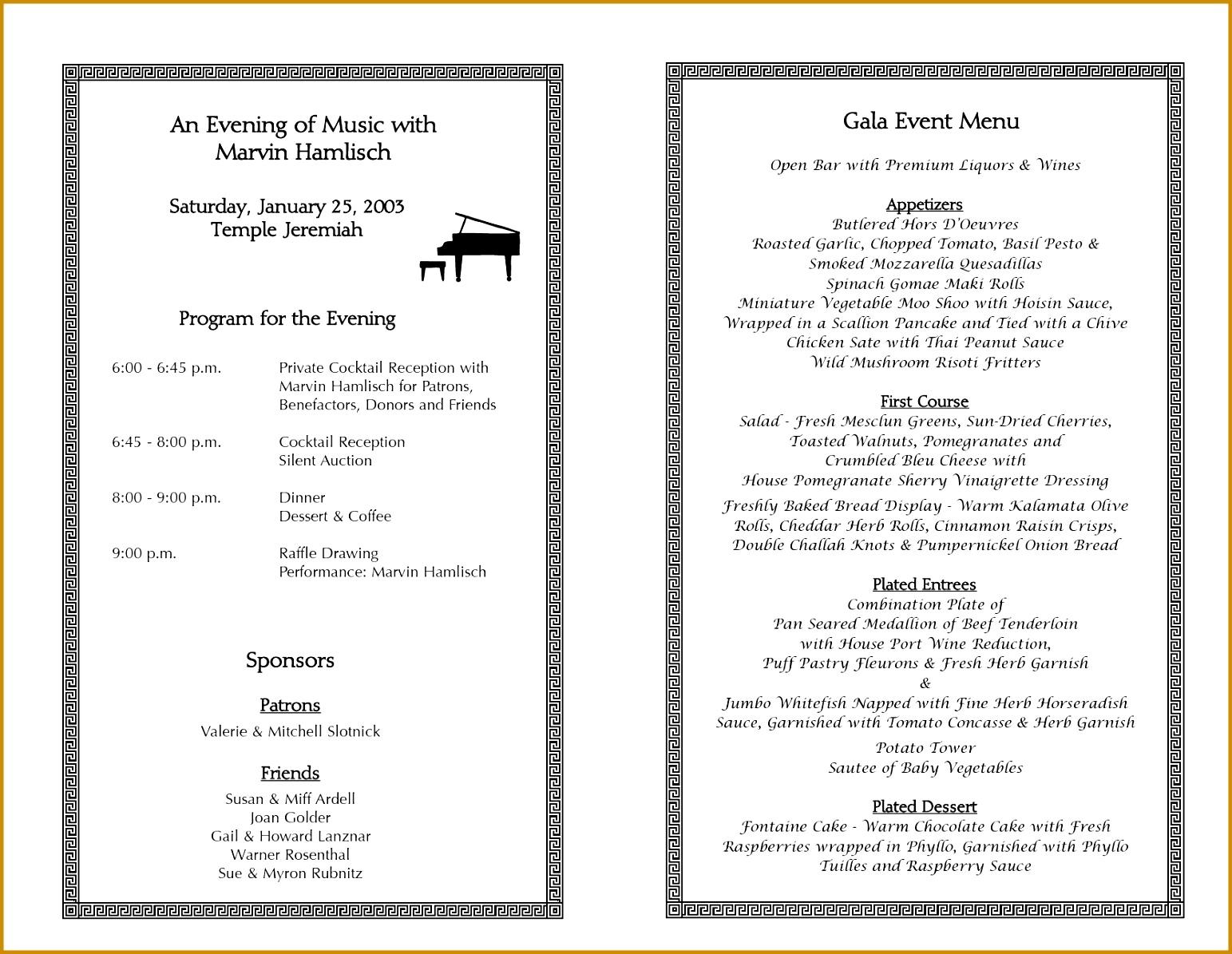 Event Program Template Printable line Calendar 11951543