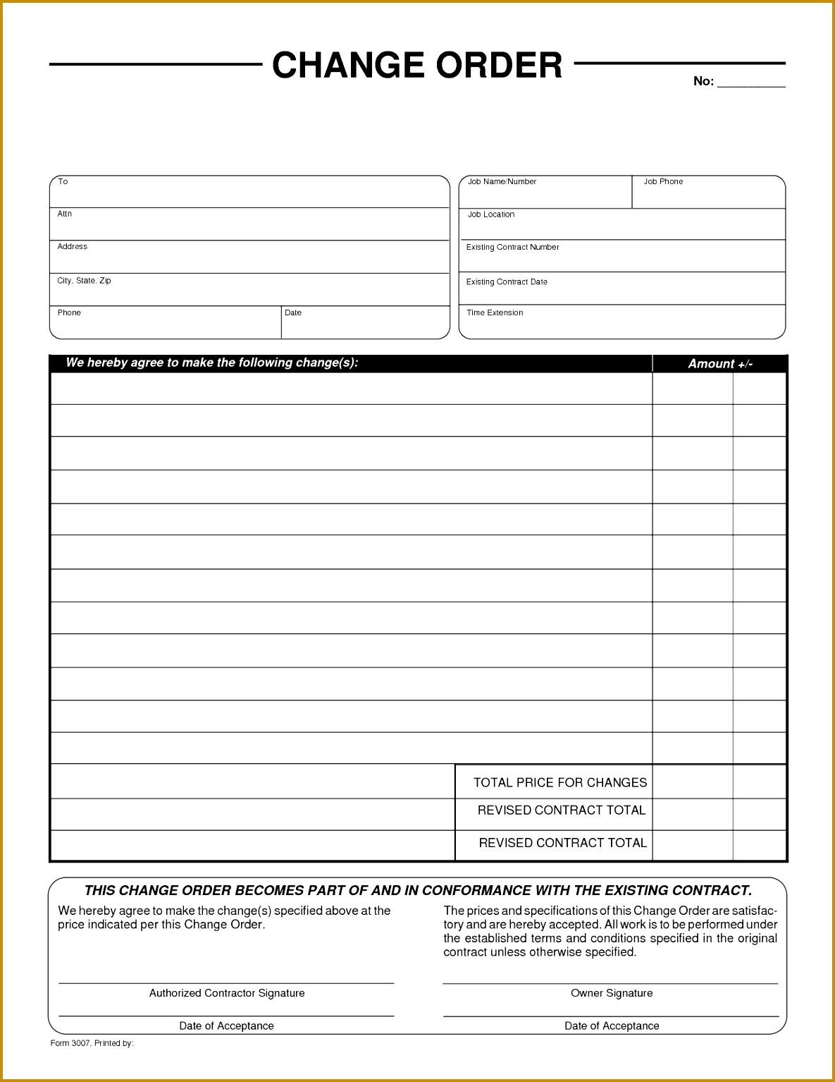 generic order form template