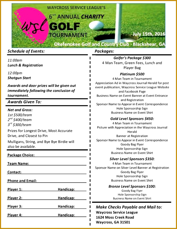 4 Golf Outing Registration Form Template   FabTemplatez   FabTemplatez  Free Sponsor Form Template