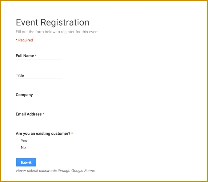 how to create a registration form on google docs