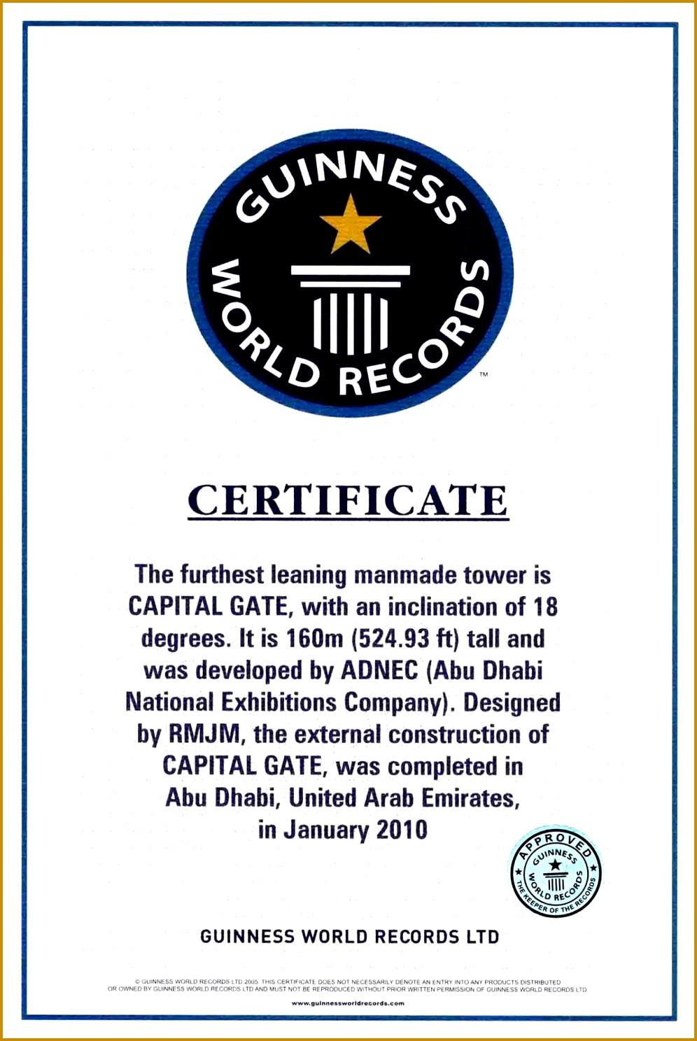 Guinness World Record Certificate Template 47533 Dubai Constructions
