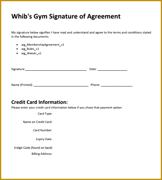 gym membership contract template 544604