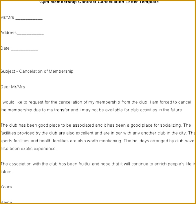 Gym Membership Contract Cancellation Letter Template Word Format 704677