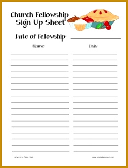 Church Fellowship Sign Up Sheet several ideas Religious Pinterest 340260