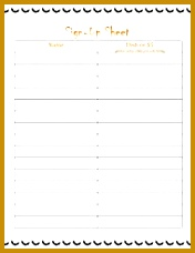 Potluck Sign Up Sheet Template 176228