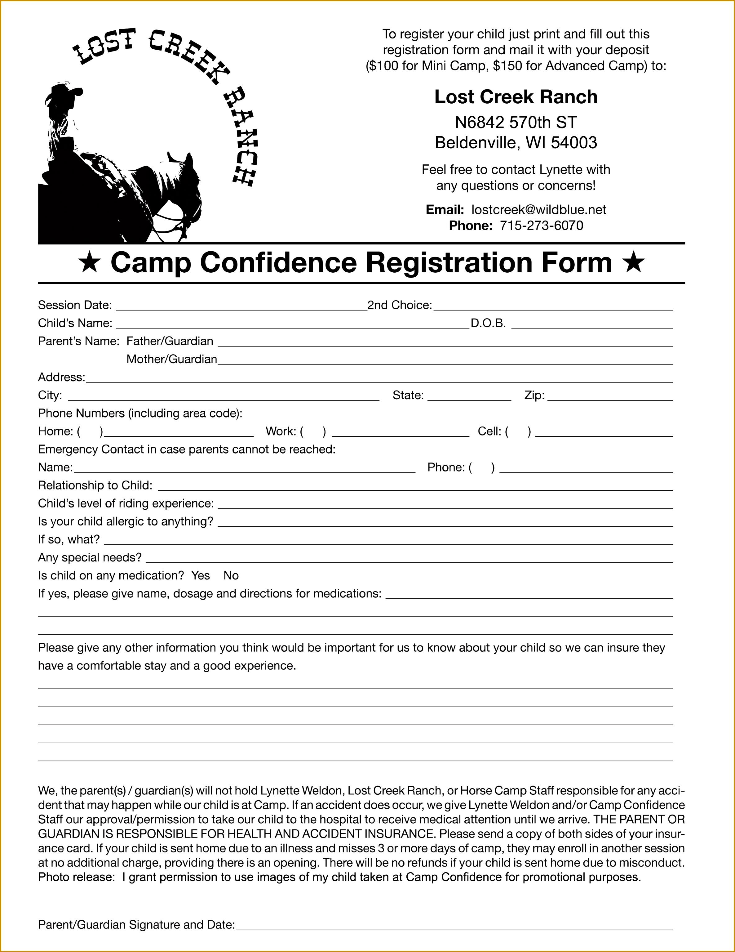 Camp Registration Form 30692371