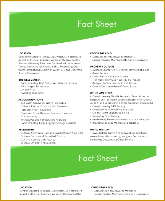 Hotel Fact Sheet Template 678558