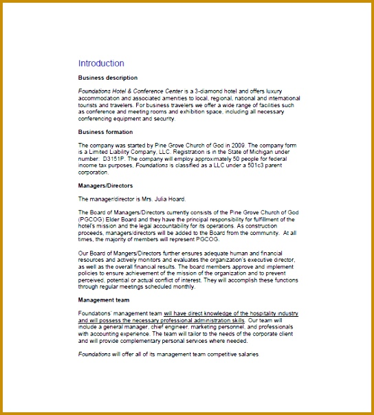 Security pany Business Plan Template Hotel Business Plan Template 8 Free Sample Example Format Template 604544