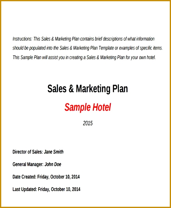 Hotel Sales Plan Templates 5 Free Word PDF Format Download 678558
