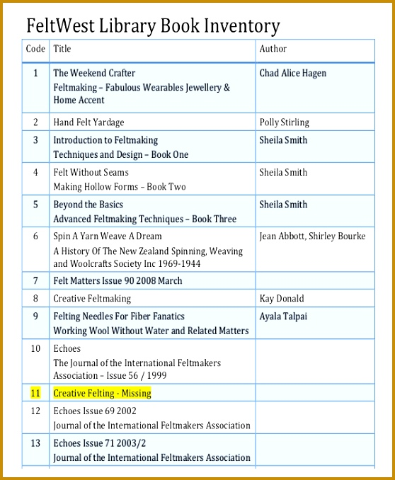 Library Book Inventory Template 678558