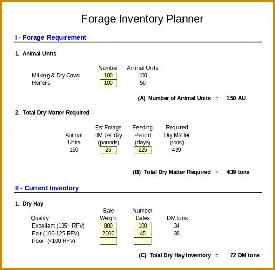 Dairy Forage Inventory Control Template In Excel Format 534544