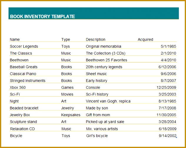 Free Book Inventory Template 632502