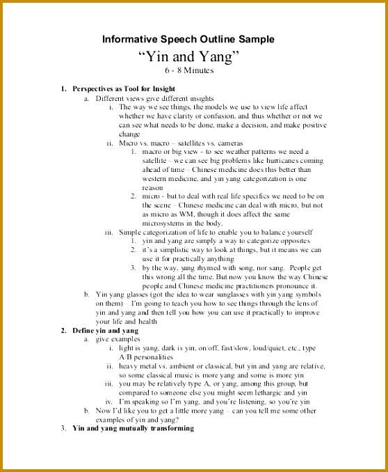 Informative Speech Outline Example 678558
