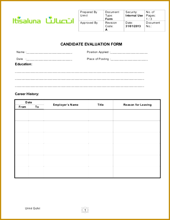 Candidate evaluation form for HR Prepared By Document Security No 768593