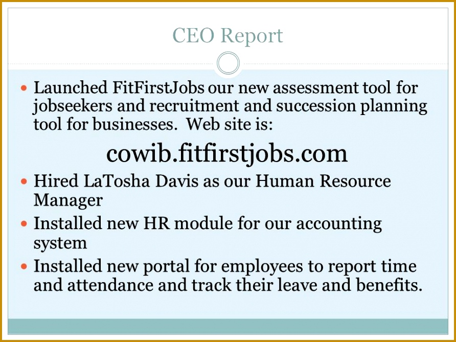 CEO Report Launched FitFirstJobs our new assessment tool for jobseekers and recruitment and succession planning tool 892669