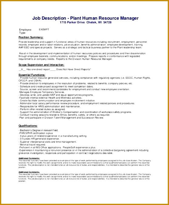 Sample HR Manager Job Description 9 Examples in PDF 678558