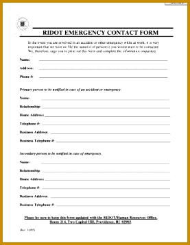 manufacturing case of emergency contact form 277358
