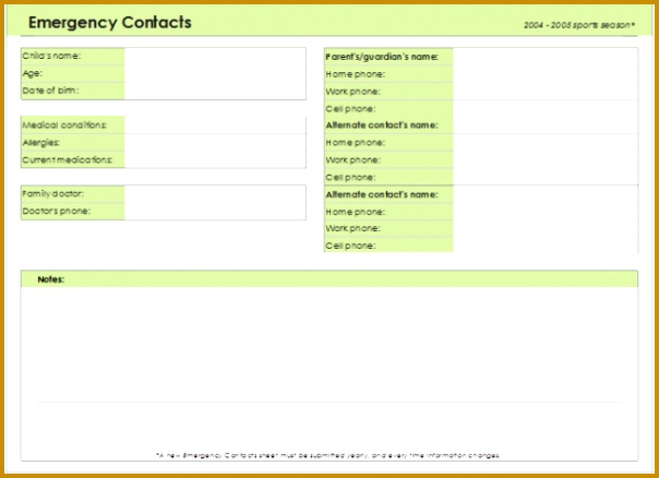 babysitter emergency contact form template emergency contact form template for every field templates 438604