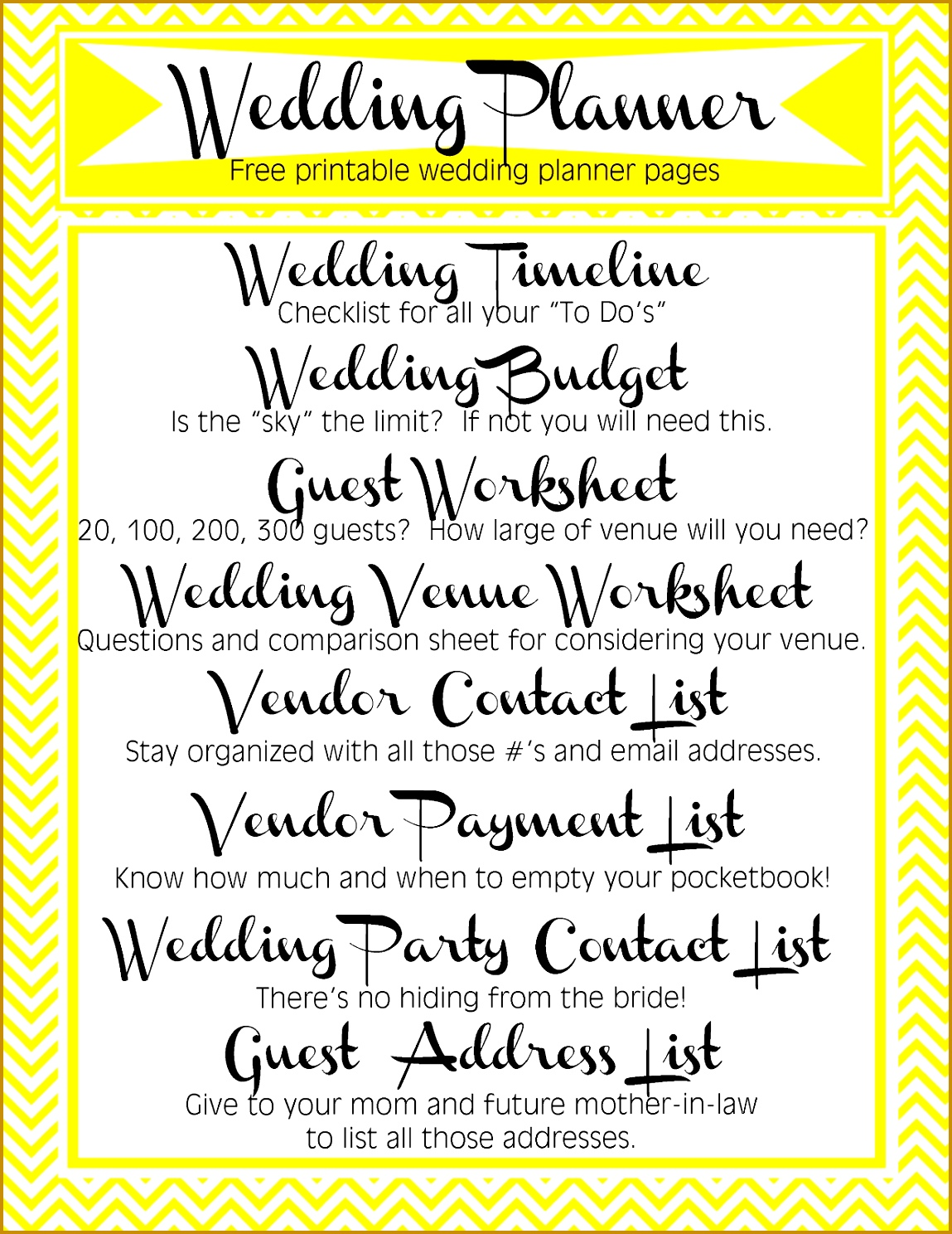 Wedding Planner Template Pages Printable DIY Free Timeline Bud Guest Lists Venue Worksheet Vendor Contact and Payment list wedding party contact list 14881149
