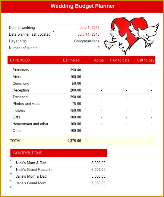 The Wedding Bud Planner template is a great way to keep track of mounting expenses and save you from losing track of amounts paid out 652544