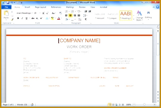 Work Order Template for Word 363539