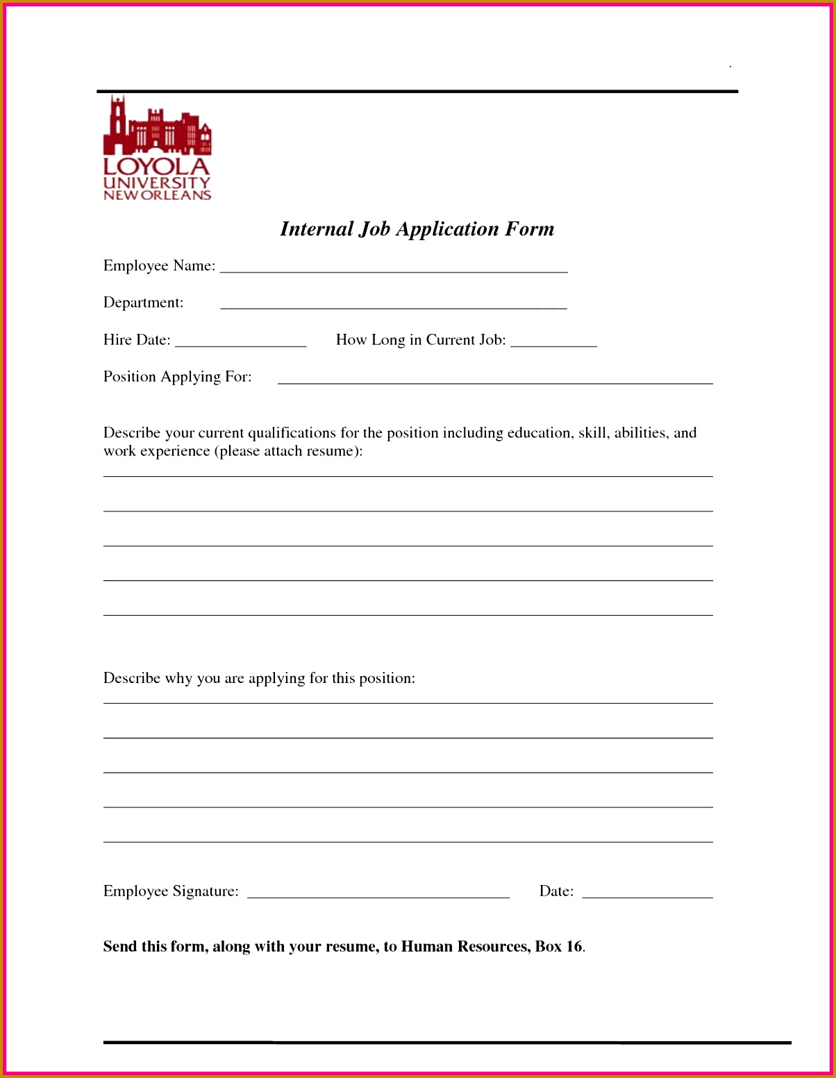 4 internal job application form template