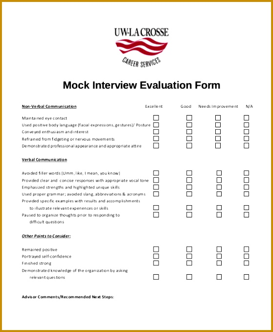 Free Interview Evaluation Form 678558