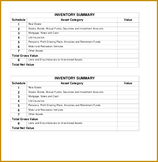 Summary PDF Inventory Form Download 558544