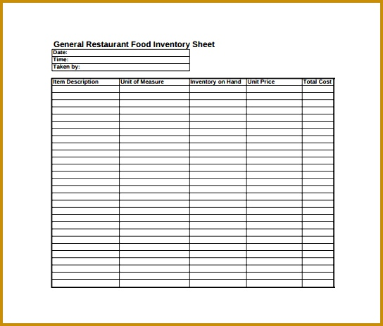 General Restaurant Food Inventory Sheet PDF Free Download 464544
