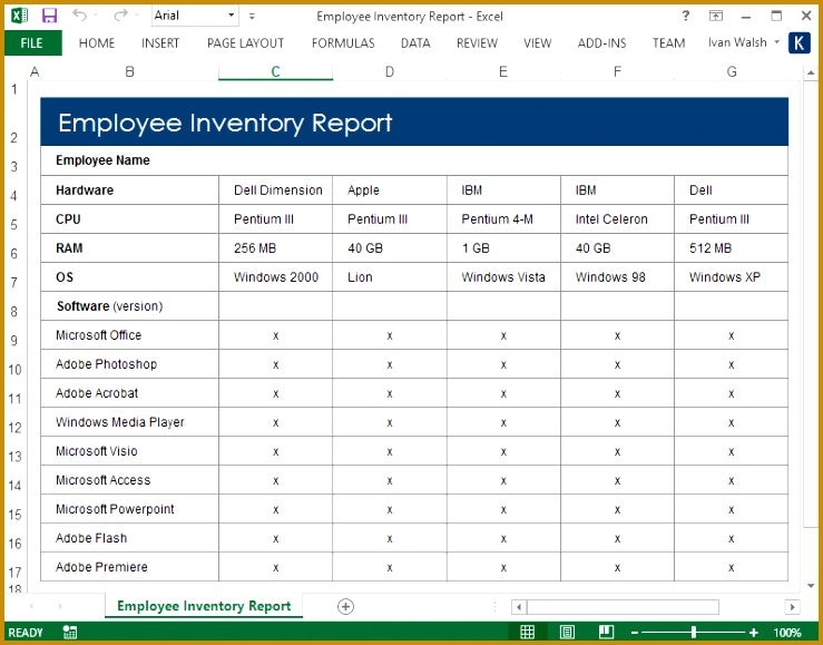 9 Free System Administration Guide Excel Templates Employee Inventory Report 579739