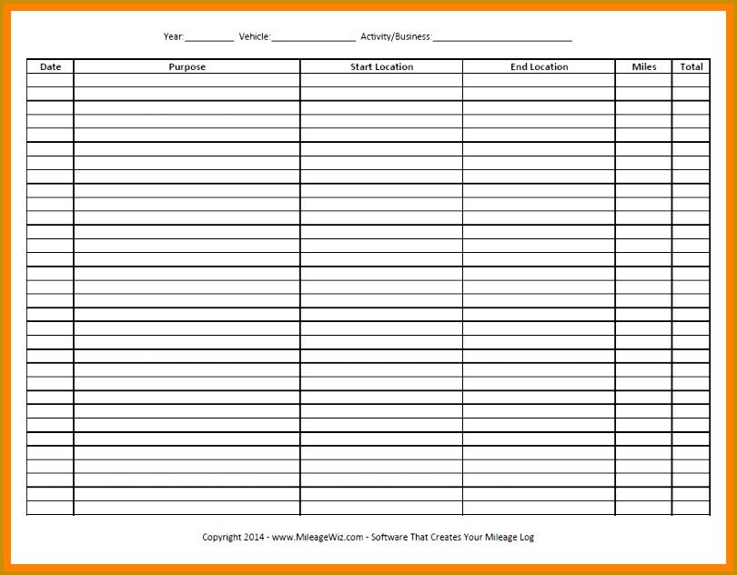 irs approved mileage log Free Mileage Log Sheet Six Column 810632