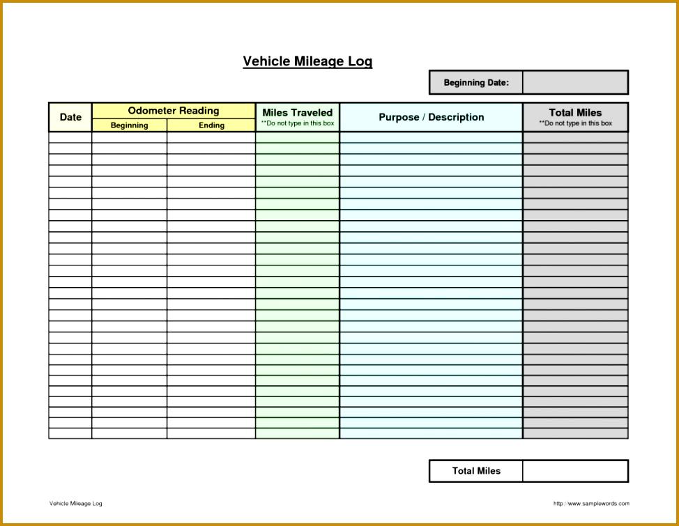 6 Mileage Log Template Receipt Templates 573 Mileage Form Form 755974