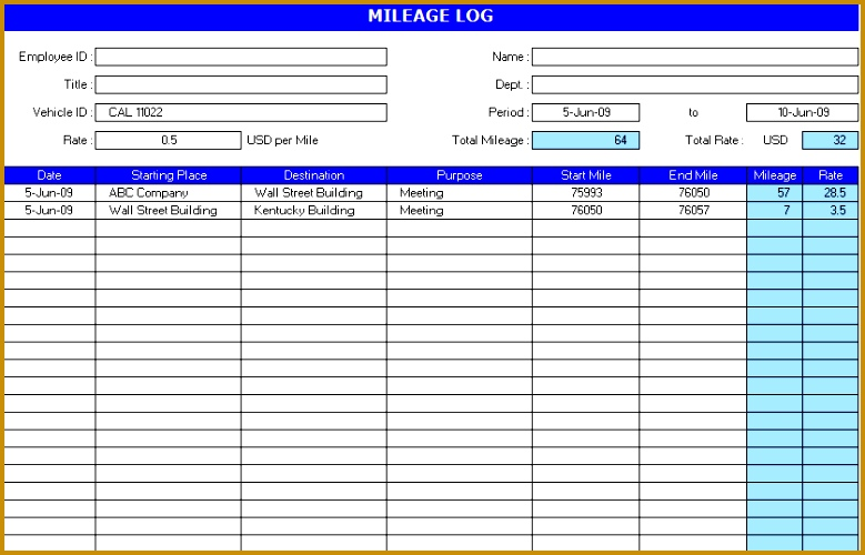 Auto Mileage Log Template 500779