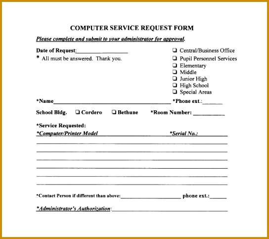 Basic puter Service Request Form 483544