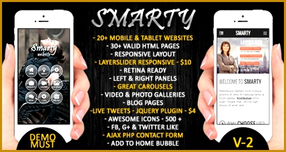 Smarty is a fully responsive HTML5 and CSS3 web template that s designed with business mobile websites in mind It es with ready to use HTML pages and is 297558