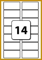 14 Labels per A4 Sheet 82 mm x 38 mm 139197