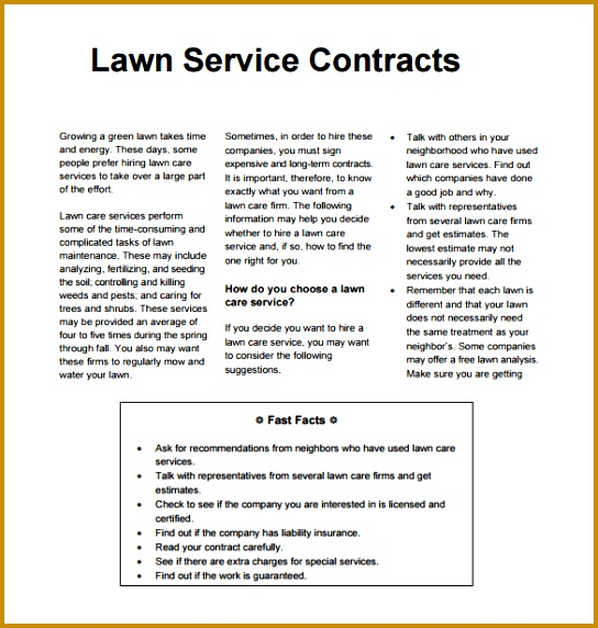 6 lawn maintenance contracts fabtemplatez for Garden maintenance contract template