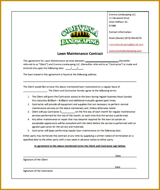 6 lawn maintenance contracts fabtemplatez for Garden maintenance contract sample