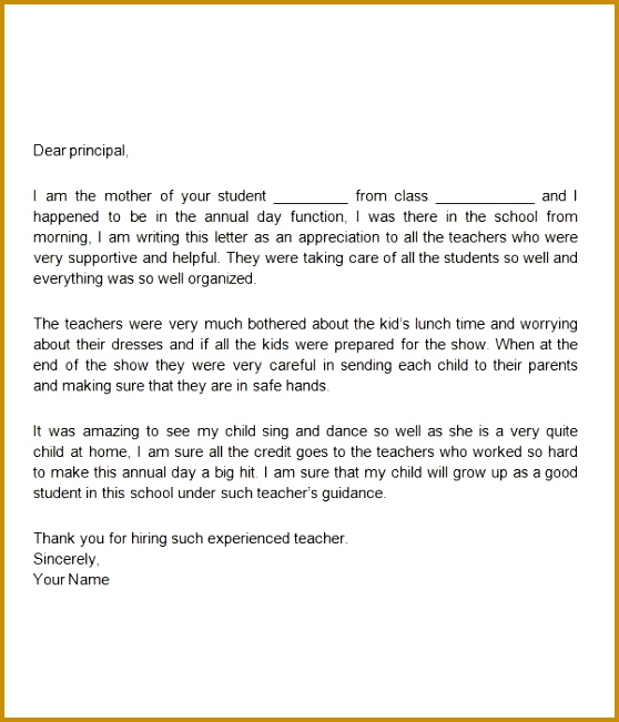 5 Letter Of Appreciation To Parents From School Fabtemplatez