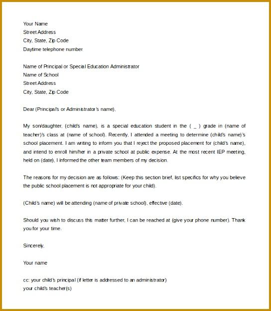 Free Letter of Intent for School Enrollment Word Sample Download 623544