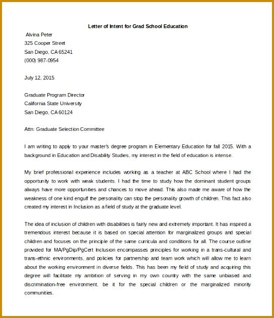 Letter of Intent Grad School Education Sample Word Format 544632