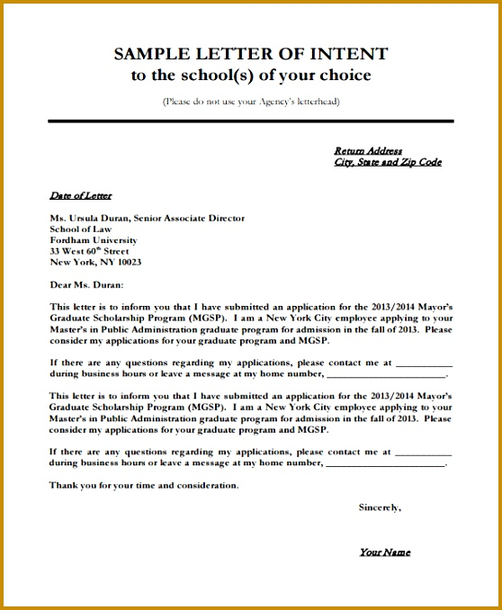 Ideas Letter Intent For Phd Scholarship Sle About Exle 558678