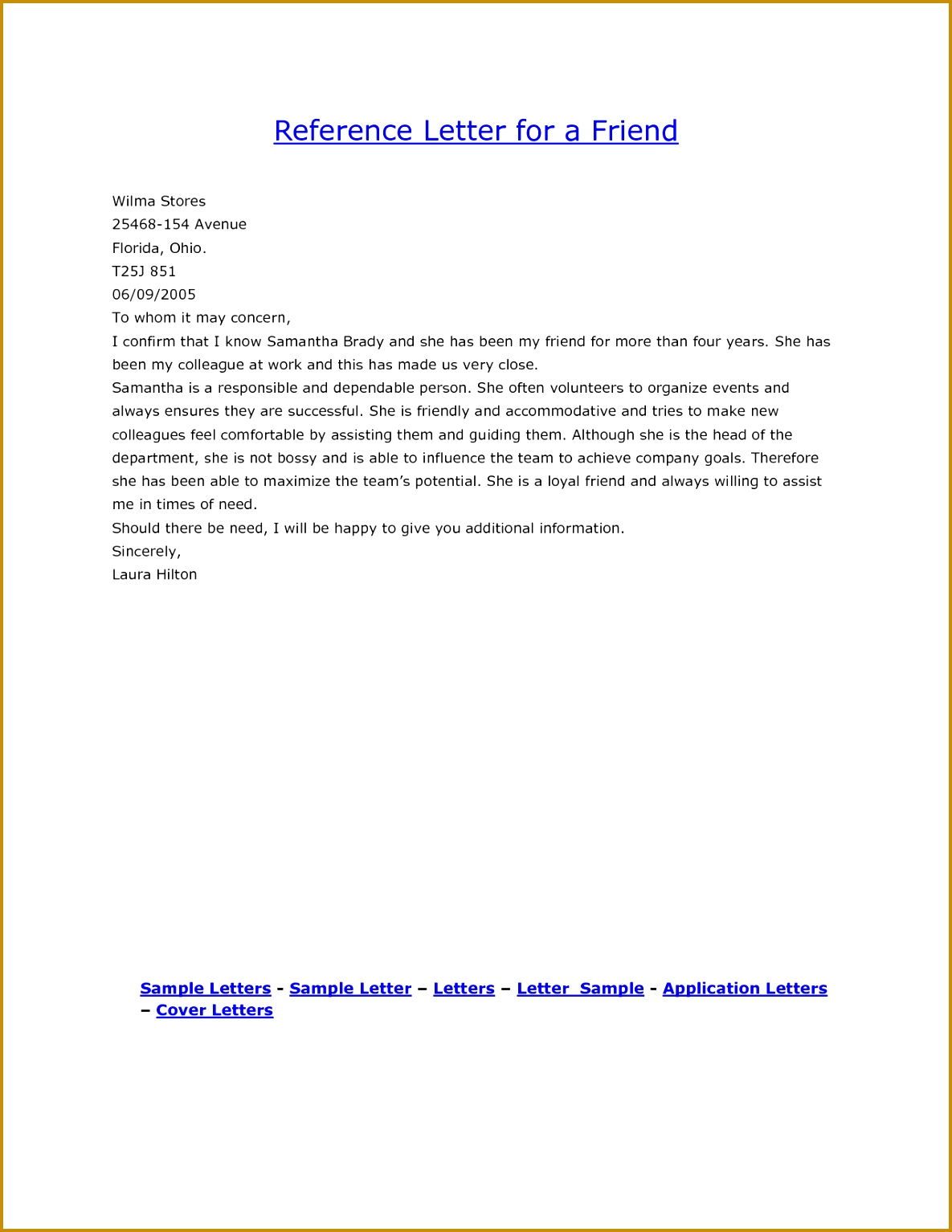 Cover Letter Exles Reference For A Friend Personal 15341185