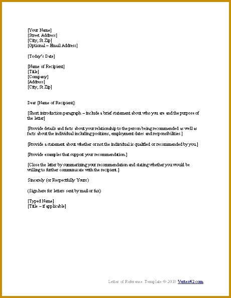 Sample Character Reference Letter Template inside Sample Personal Reference Letter For A Friend 460595